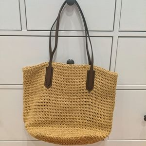 J Crew straw tote bag